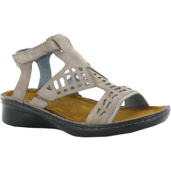 ナオト レディース サンダル シューズ String Ankle Strap Sandal Stone Nubuck/Silver Threads Leather