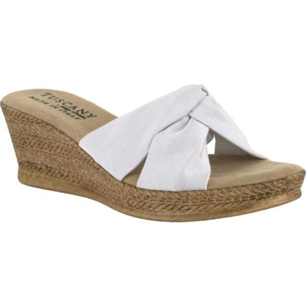 イージーストリート レディース サンダル シューズ Tuscany Dinah Wedge Sandal White Crepe Fabric