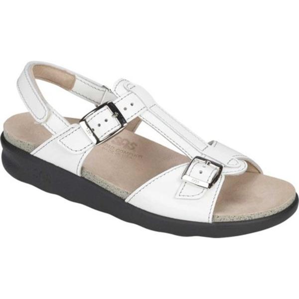 エスエーエス レディース サンダル シューズ Captiva T Strap Sandal White Leather