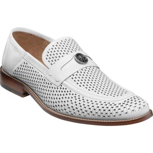 ステイシーアダムス メンズ ドレスシューズ シューズ Belmiro Ornamented Loafer White Smooth Leather