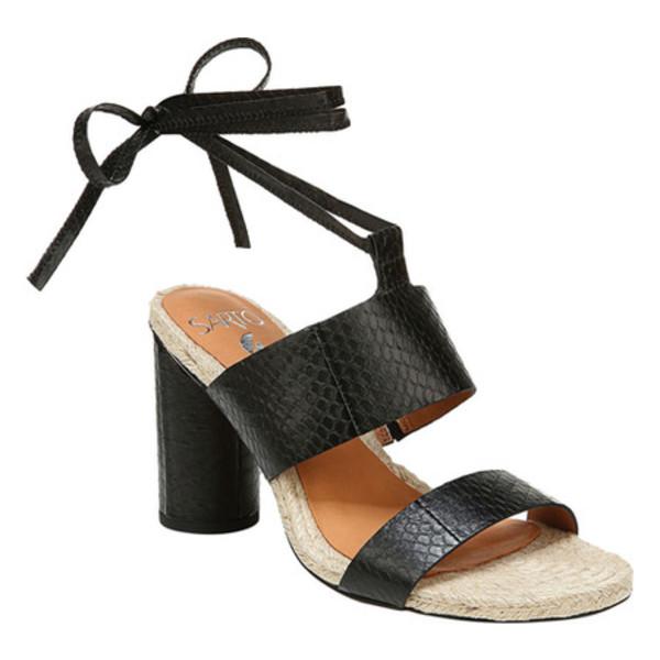 サルトバイフランコサルト レディース サンダル シューズ Obi 3 Heeled Ankle Strap Sandal Black Matte Mamba Snake Leather