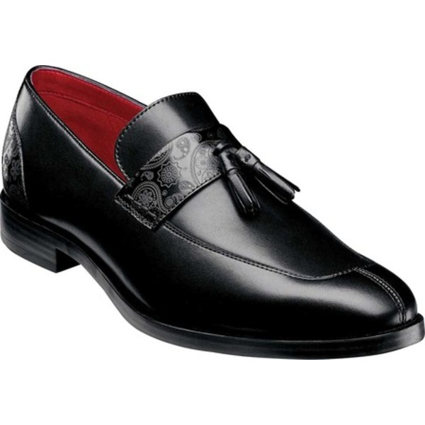 ステイシーアダムス メンズ ドレスシューズ シューズ Quinby Moc Toe Kiltie Loafer Black Smooth Leather