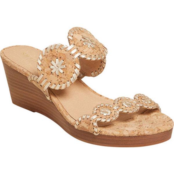 ジャックロジャース レディース スニーカー シューズ Lauren Mid Wedge Sandal Natural Cork/Gold Metallic
