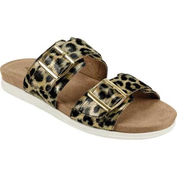 エアロソールズ レディース サンダル シューズ Hamden Two Band Slide Dark Gold Leopard Faux Leather