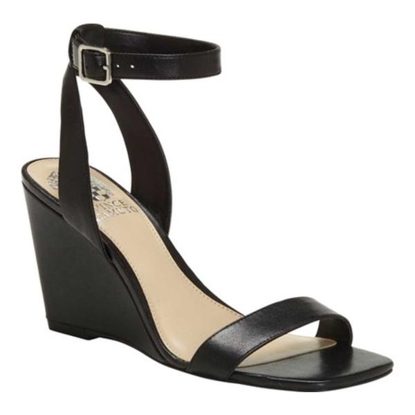 ヴィンスカムート レディース オックスフォード シューズ Gallanna Ankle Strap Wedge Sandal Black Leather