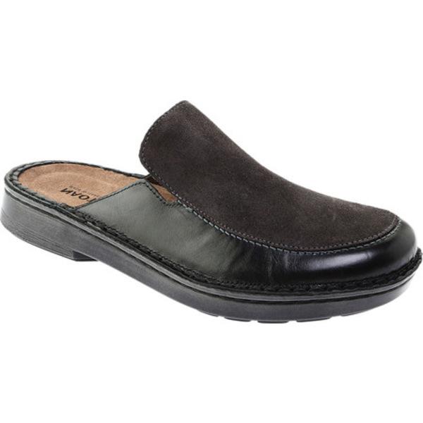 ナオト レディース サンダル シューズ Procida Mule Black Madras Leather/Oily Midnight Suede