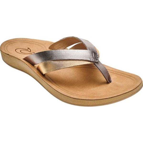 オルカイ レディース スニーカー シューズ Kaekae Flip Flop Silver/Golden Sand Full Grain Leather/Metallic