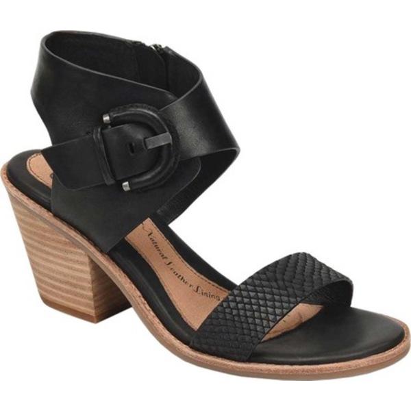 ソフト レディース サンダル シューズ Menaka Heeled Sandal Black Snake Print Leather