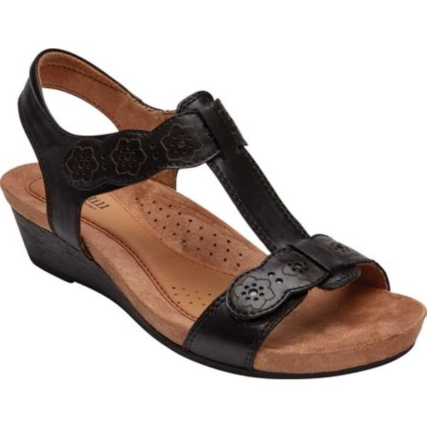 ロックポート レディース サンダル シューズ Cobb Hill Hollywood T Strap Sandal Black Leather