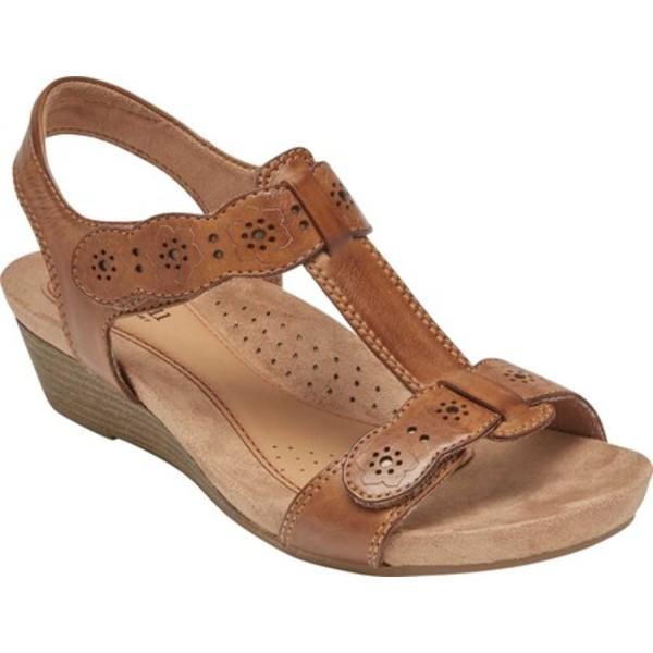 ロックポート レディース サンダル シューズ Cobb Hill Hollywood T Strap Sandal Tan Leather