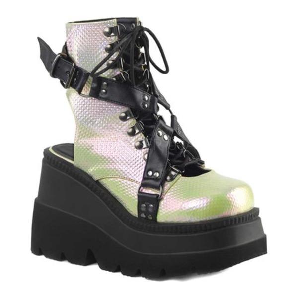 デモニア レディース ブーツ&レインブーツ シューズ Shaker 56 Open Back Ankle Boot Green/Black Vegan Leather