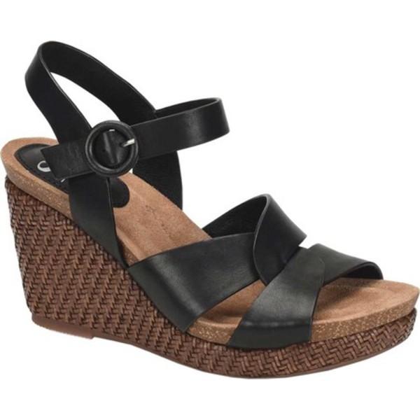ソフト レディース サンダル シューズ Casidy Wedge Ankle Strap Sandal Black Leather