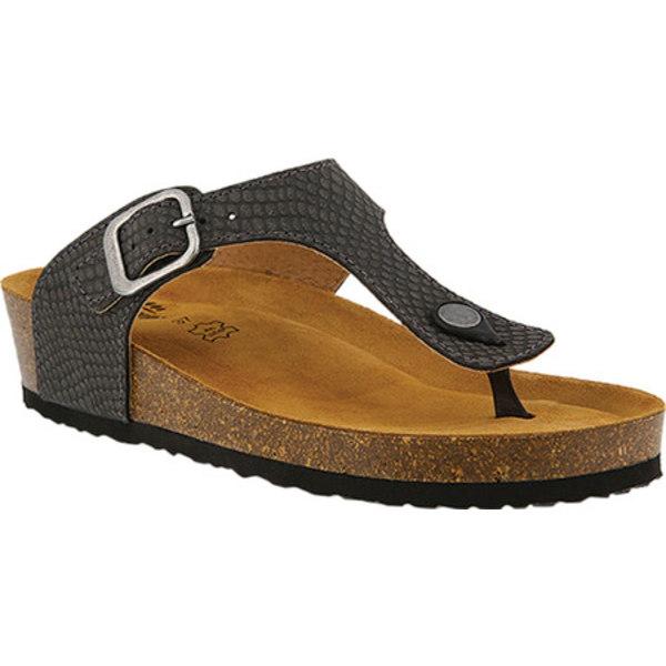 スプリングステップ レディース サンダル シューズ Estelle Thong Sandal Black Leather
