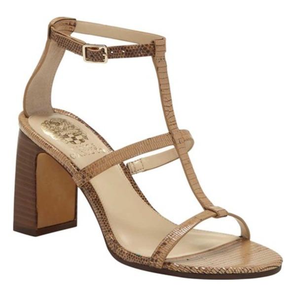 ヴィンスカムート レディース サンダル シューズ Balindah T Strap Heeled Sandal Camel Brown Leather
