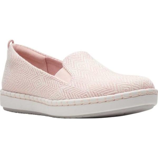 クラークス レディース スニーカー シューズ Step Glow Slip-On Pink/White Canvas
