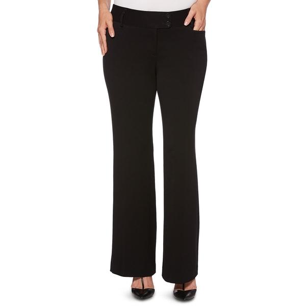 ラファエラ レディース カジュアルパンツ ボトムス Women's Curvy-Fit Gabardine Bootcut Trouser-Short Inseam Black
