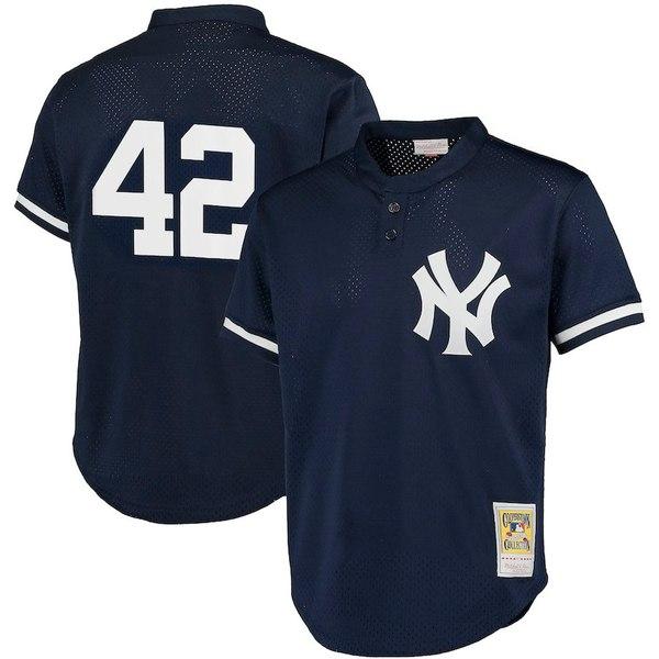 ミッチェル&ネス メンズ シャツ トップス Mariano Rivera New York Yankees Mitchell & Ness Cooperstown Collection Big & Tall Mesh Batting Practice Jersey Navy