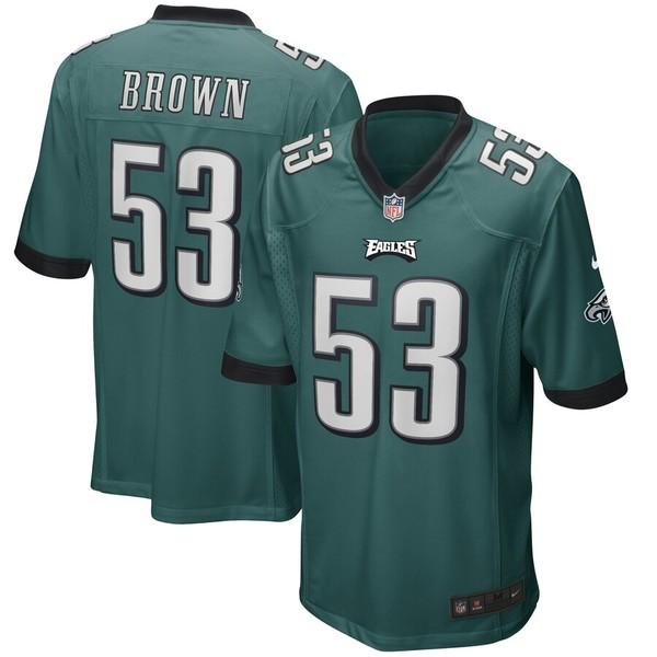 ナイキ メンズ シャツ トップス Jatavis Brown Philadelphia Eagles Nike Game Player Jersey Midnight Green