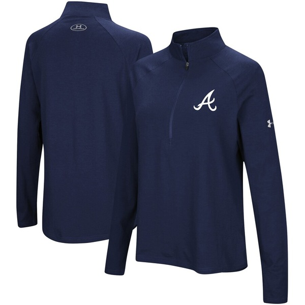 アンダーアーマー レディース ジャケット&ブルゾン アウター Atlanta Braves Under Armour Women's Passion Performance Tri-Blend Raglan Half-Zip Pullover Jacket Navy