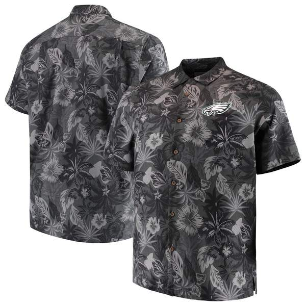 トッミーバハマ メンズ シャツ トップス Philadelphia Eagles Tommy Bahama Big & Tall Fuego Floral Button-Up Shirt Black