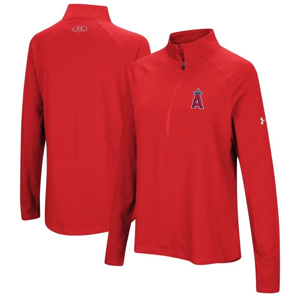 アンダーアーマー レディース ジャケット&ブルゾン アウター Los Angeles Angels Under Armour Women's Passion Performance Tri-Blend Raglan Half-Zip Pullover Jacket Red