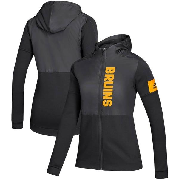 アディダス レディース ジャケット&ブルゾン アウター Boston Bruins adidas Women's Game Mode Full-Zip Jacket Black
