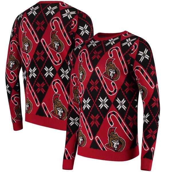 フォコ メンズ シャツ トップス Ottawa Senators Candy Cane Ugly Sweater Red