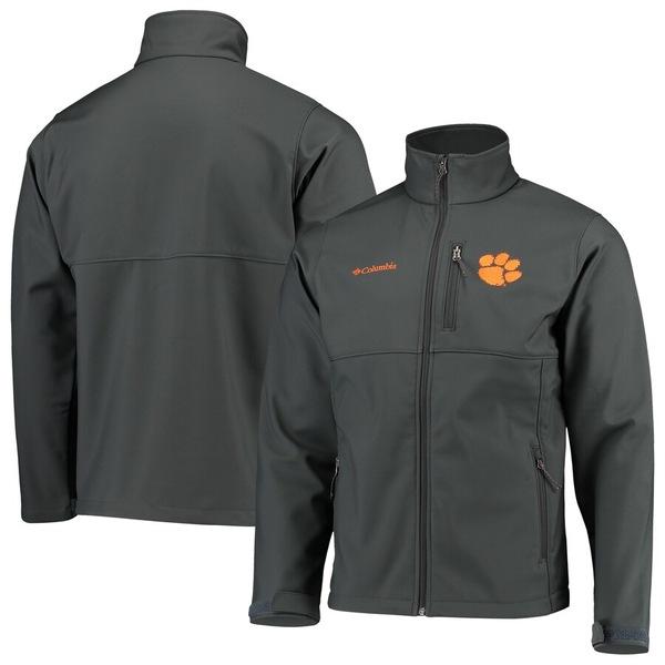 コロンビア メンズ ジャケット&ブルゾン アウター Clemson Tigers Columbia Collegiate Ascender Full-Zip Softshell Jacket Charcoal