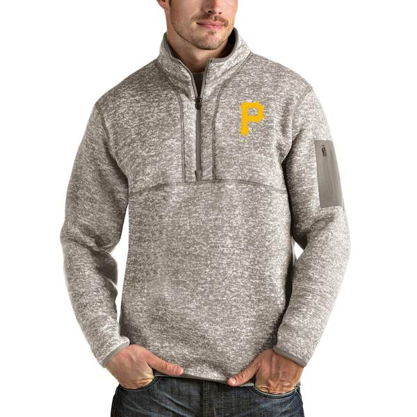 アンティグア メンズ ジャケット&ブルゾン アウター Pittsburgh Pirates Antigua Fortune Quarter-Zip Pullover Jacket Oatmeal