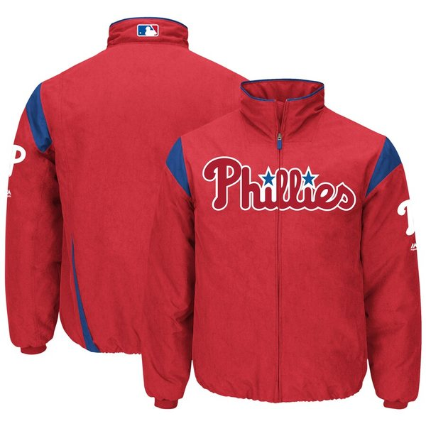 マジェスティック メンズ ジャケット&ブルゾン アウター Philadelphia Phillies Majestic On-Field Therma Base Thermal Full-Zip Jacket Red