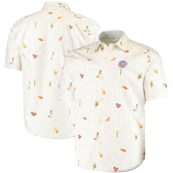 トッミーバハマ メンズ シャツ トップス Chicago Cubs Tommy Bahama Beach-Cation Camp Button-Up Shirt White