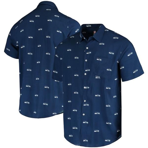 フォコ メンズ シャツ トップス Seattle Seahawks Mini Print Logo Woven Button-Up Shirt College Navy