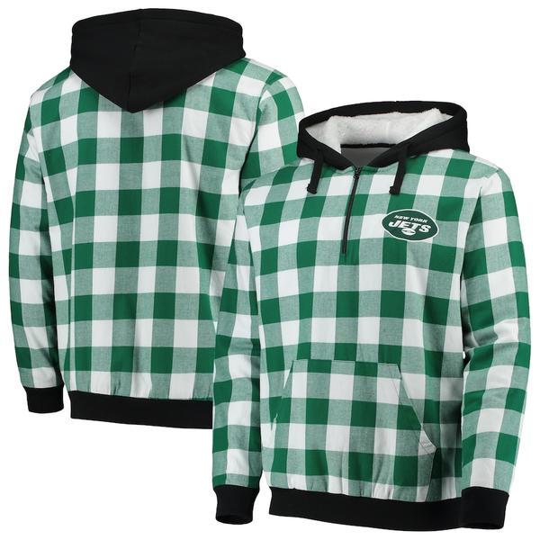 フォコ メンズ ジャケット&ブルゾン アウター New York Jets Large Check Sherpa Flannel Quarter-Zip Hoodie Jacket Green/White