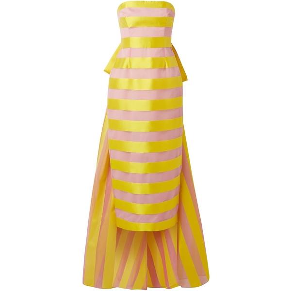 リラローズ レディース ワンピース トップス Draped striped organza and satin midi dress Yellow