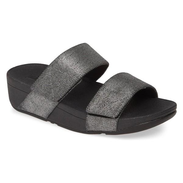 フィットフロップ レディース サンダル シューズ FitFlop Mina Shimmer Slide Sandal (Women) All Black Fabric