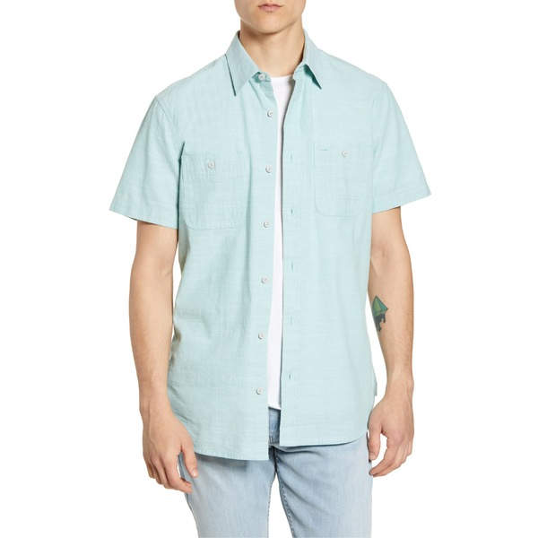 ワンナインオーワン メンズ シャツ トップス 1901 Workwear Short Sleeve Chambray Button-Up Shirt Green Canton