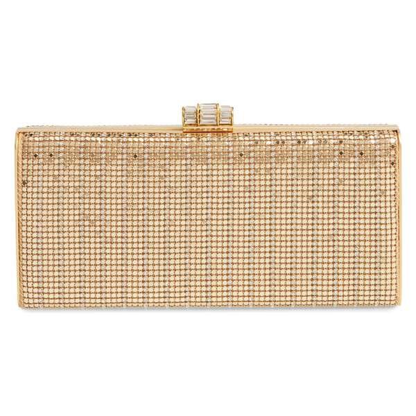 ホワイティングアンドデイビス レディース クラッチバッグ バッグ Whiting & Davis Crystal Embellished Metallic Mesh Clutch Gold