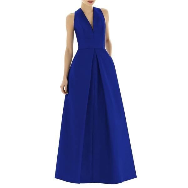 アルフレッド ワンピース レディース ワンピース トップス Alfred Sung V-Neck トップス Dupioni Evening Sung Gown (Regular & Plus Size) Royal, UNIT-F:509cf889 --- officewill.xsrv.jp