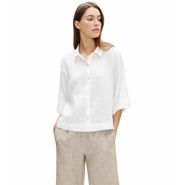 エイリーンフィッシャー レディース シャツ トップス Classic Collar Elbow Sleeve Shirt White