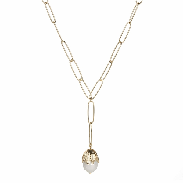 レベッカミンコフ レディース ネックレス・チョーカー・ペンダントトップ アクセサリー Textured Flower Y-Necklace w/ Fresh-Water-Pearl Gold/White