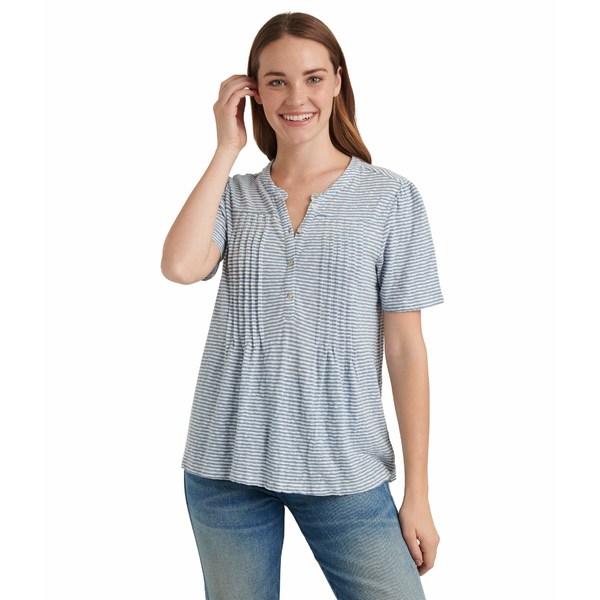 ラッキーブランド レディース シャツ トップス Short Sleeve Button-Up Striped Knit Seersucker Top Blue Stripe
