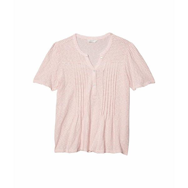 ラッキーブランド レディース シャツ トップス Short Sleeve Button-Up Striped Knit Seersucker Top Pink Stripe