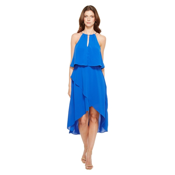 アドリアナ パペル レディース ワンピース トップス Gauzy Crepe Popover High-Low Dress with Wrap Skirt and Hardware on Neckline Bright Cobalt