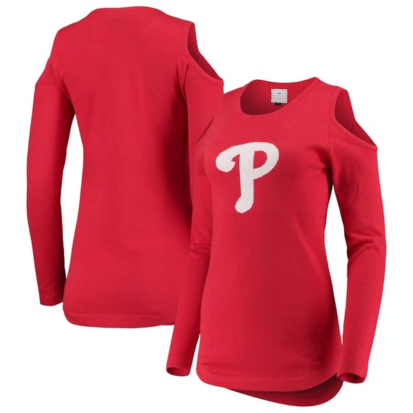 フォコ レディース シャツ トップス Philadelphia Phillies Women's Logo Cold Shoulder Sweater Red