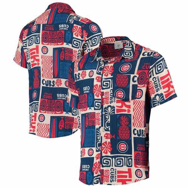 フォコ メンズ シャツ トップス Chicago Cubs Tiki Button-Up Shirt Royal