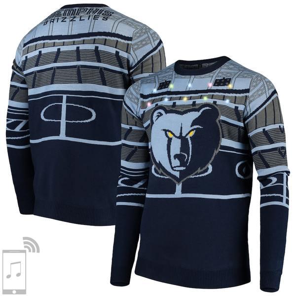 フォコ メンズ シャツ トップス Memphis Grizzlies Courtside Bluetooth-Enabled Light Up Ugly Sweater Navy