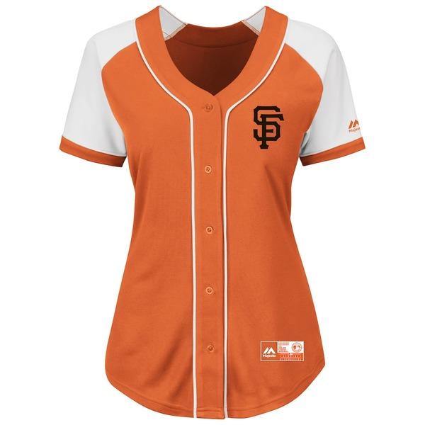 マジェスティック レディース シャツ トップス San Francisco Giants Majestic Women's Plus Size Fashion Replica Jersey Orange