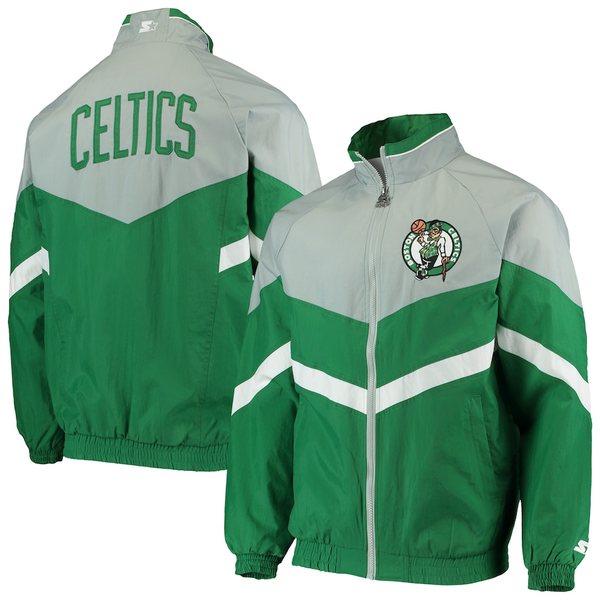 スターター メンズ ジャケット&ブルゾン アウター Boston Celtics Starter Bank Shot Oxford Full-Zip Jacket Kelly Green/Gray
