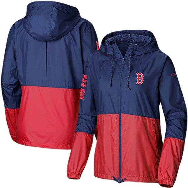 コロンビア レディース ジャケット&ブルゾン アウター Boston Red Sox Columbia Women's Flash Forward Windbreaker Full-Zip Jacket Navy