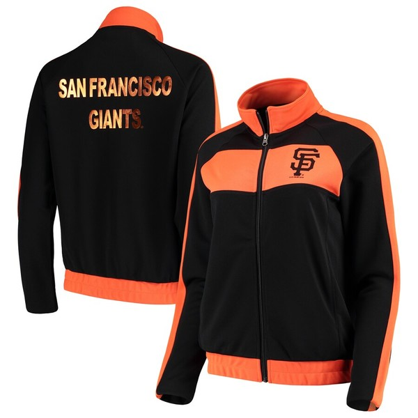 カールバンクス レディース ジャケット&ブルゾン アウター San Francisco Giants G-III 4Her by Carl Banks Women's Punt Track Jacket Black/Orange